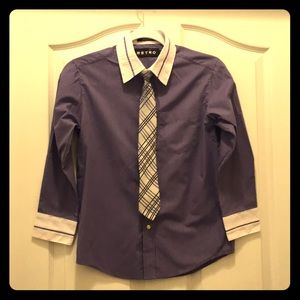 Boys' Purple Button Down Shirt & Tie 👔